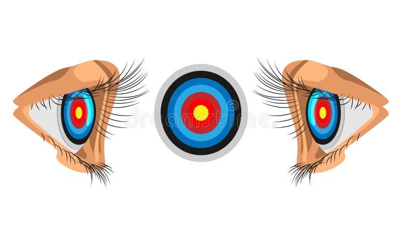 Eyes focus on the target. illustration of business competition. the target is focused on the eye. royalty free illustration