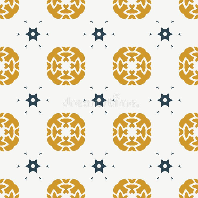 Seamless vector white background with Gold and navy blue decorative floral decorative ornament vector illustration