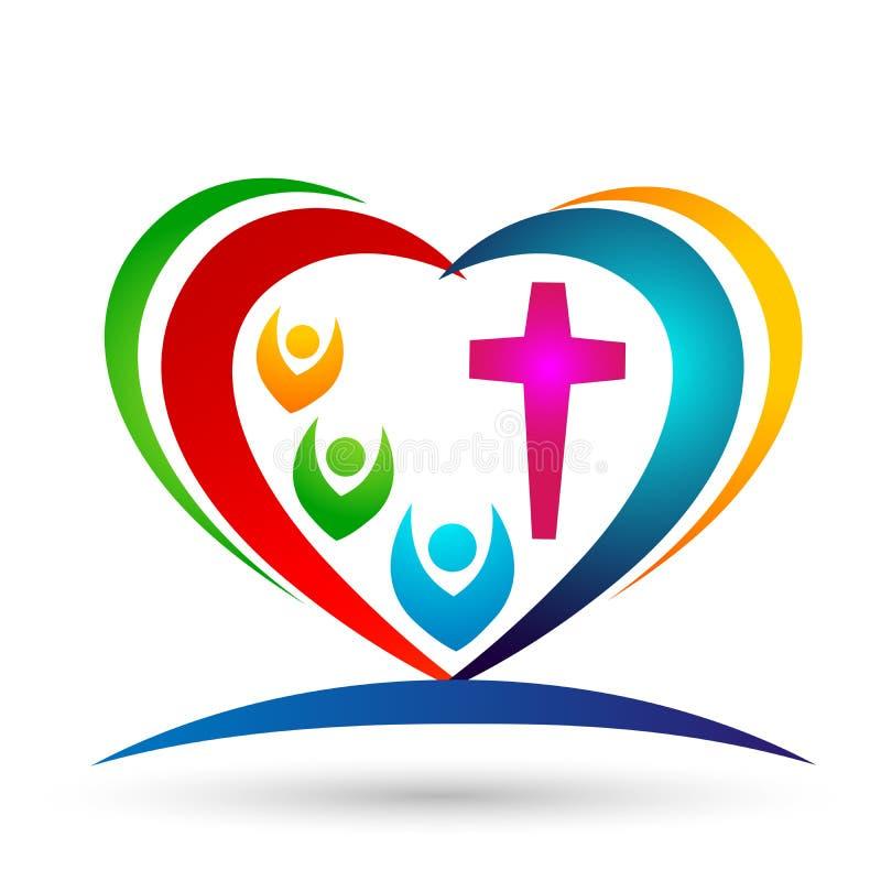 Family Church Love Union Heart shaped logo vector illustration