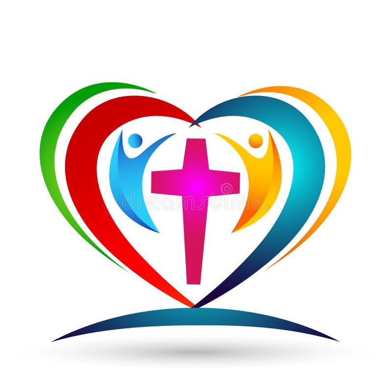 Family Church Love Union Heart shaped logo royalty free illustration