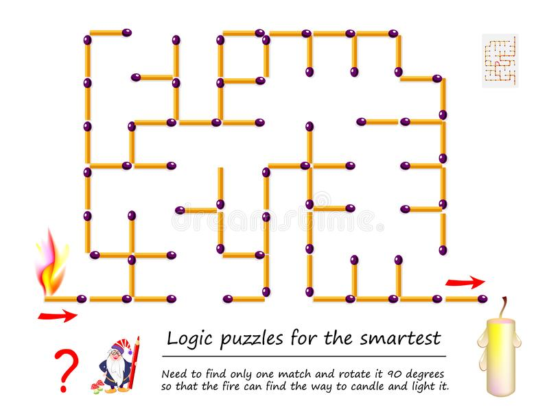 Logical puzzle game with labyrinth for children. Need to find only one match and rotate it 90 degrees. royalty free illustration