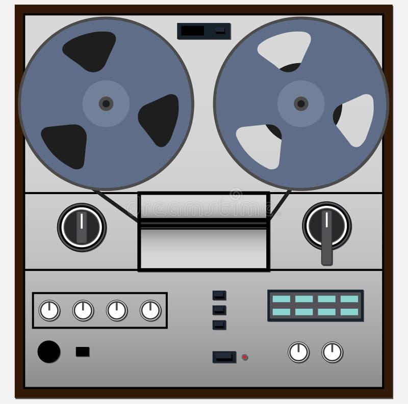 Vintage magnetic audio tape reel-to-reel recorder vector illustration