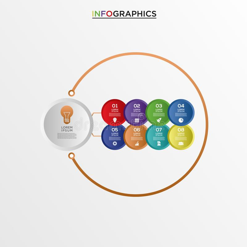 Basic RGB. Vector infographics design template, integrated circles background. Blank space for content, business, infographic, diagram, digital network stock illustration