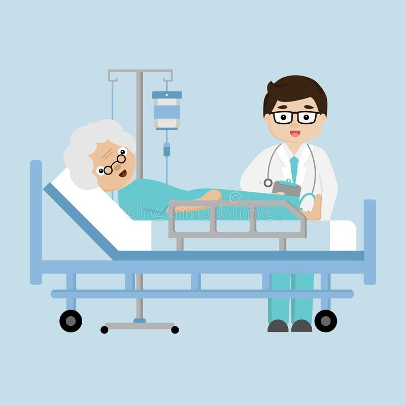 Doctor visit  patient elderly woman lying in a medical bed. royalty free illustration