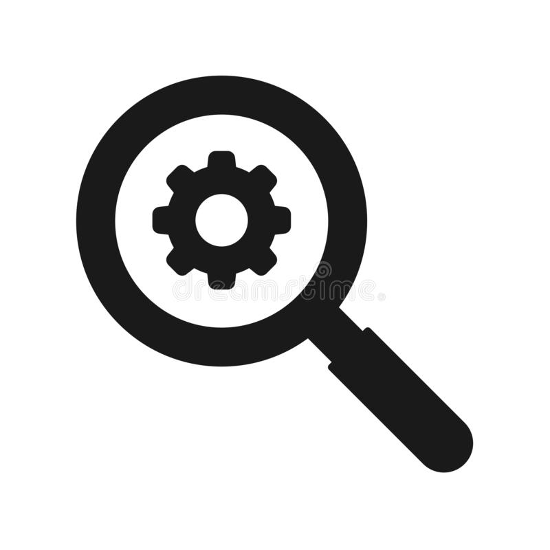 Magnifying glass and cog wheel gear icon vector illustration