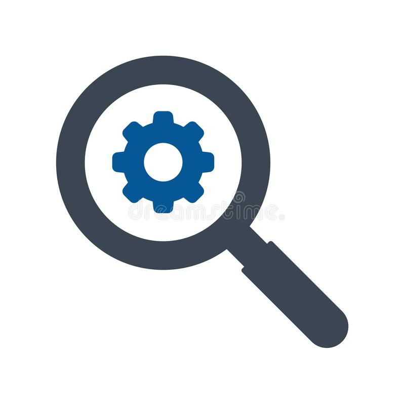 Magnifying glass and Cog wheel gear icon royalty free illustration