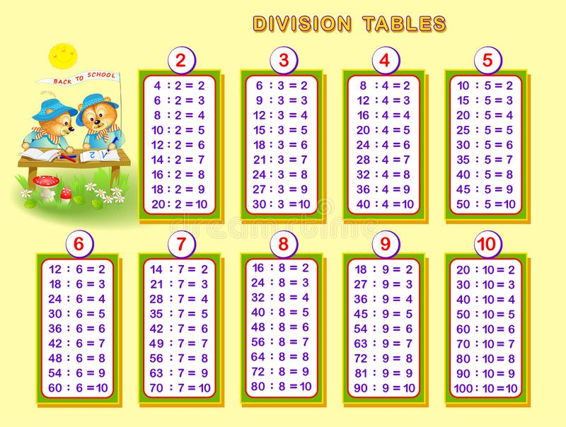 Division Tables For Little Children Educational Page For
