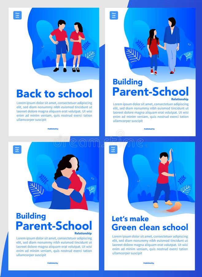 Back to school and build parent-school relationship simple and fresh design for cover books or pdf cover online book. School theme.  royalty free illustration