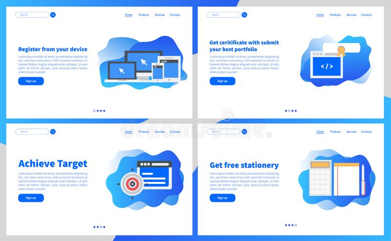 Online academy or online education apps simple user interface UX, UI screen template for mobile smart phone or responsive web site stock illustration