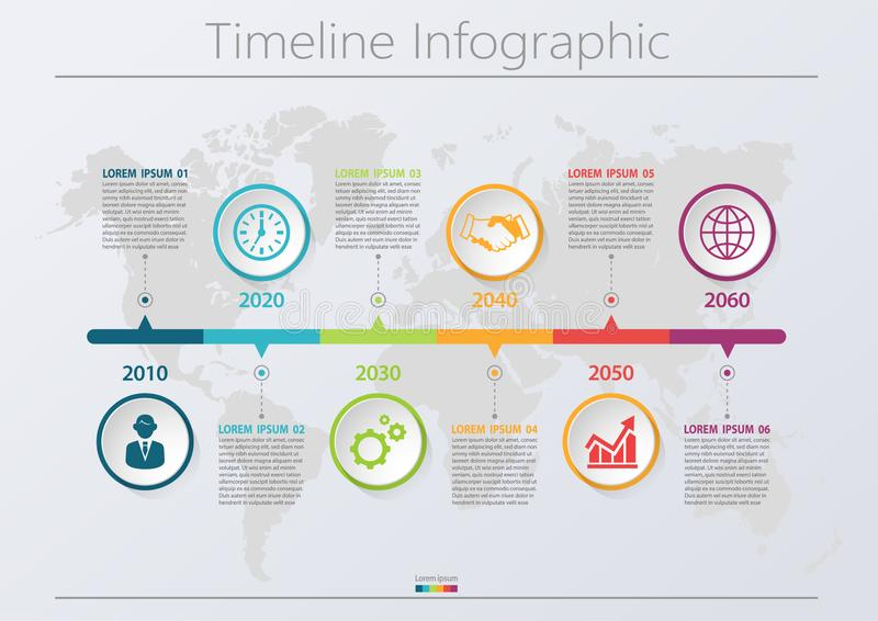 Presentation business infographic template with 6 options. vector illustration