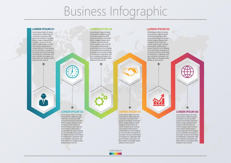 Presentation business infographic template with 6 options. royalty free illustration