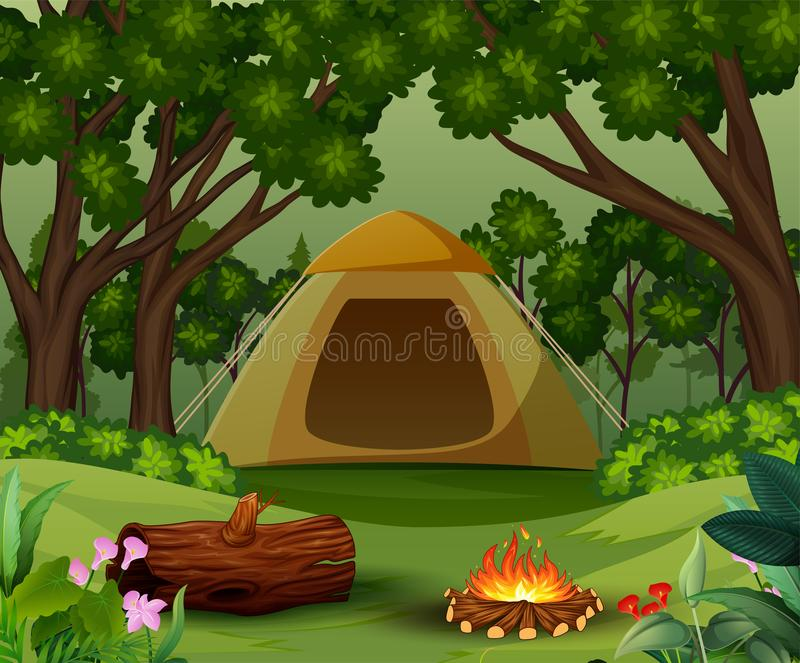 Tents with bonfire on forest background royalty free illustration