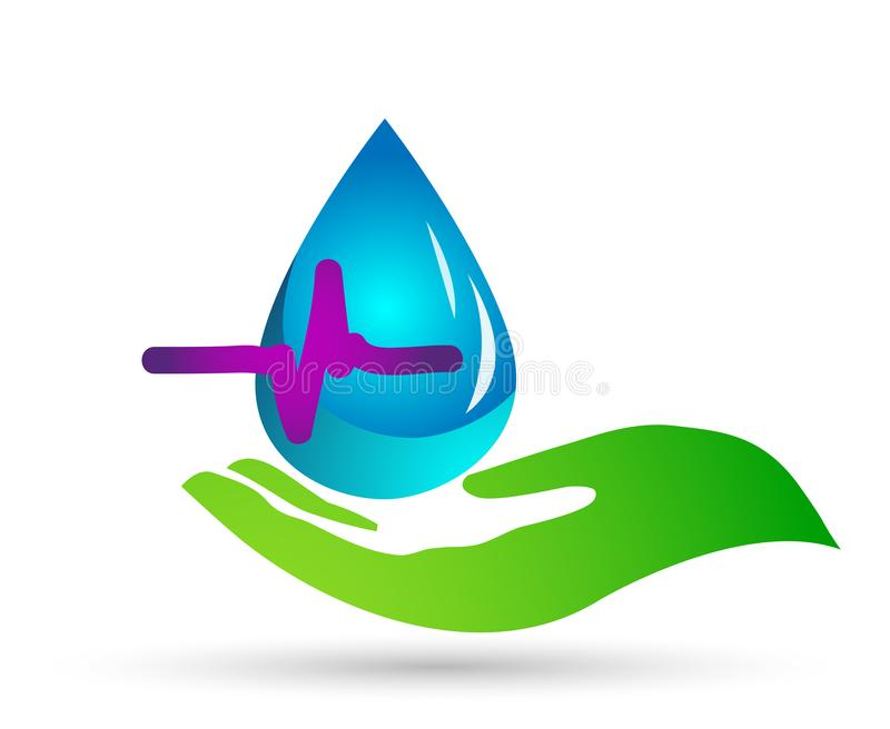 Water drop save water globe people  life care logo concept of water drop wellness symbol icon nature drops elements vector design. Water drop save globe people vector illustration