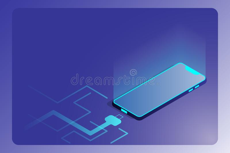 Isometric smart phone with charging cable isolated on background. Landing page and futuristic technology website design concept. royalty free illustration
