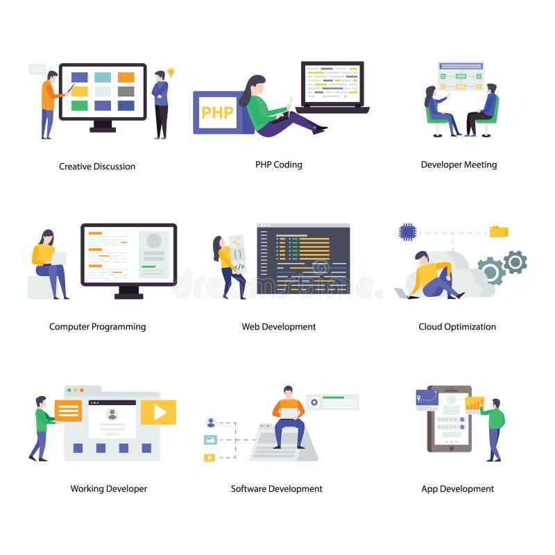 Digital Designing Flat Illustrations Pack vector illustration