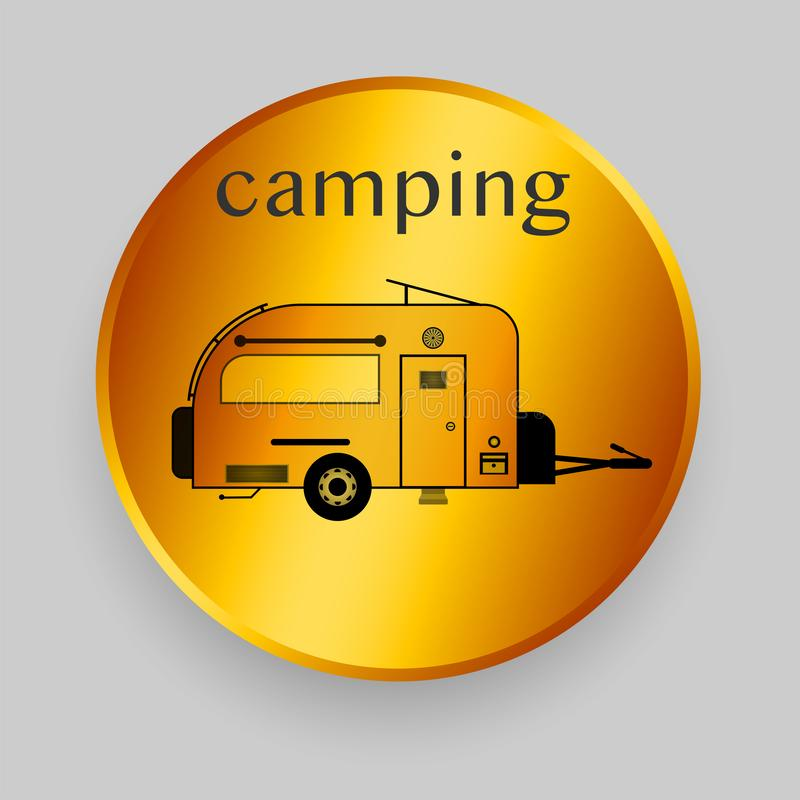 Camper trailer vector line illustration royalty free stock photography
