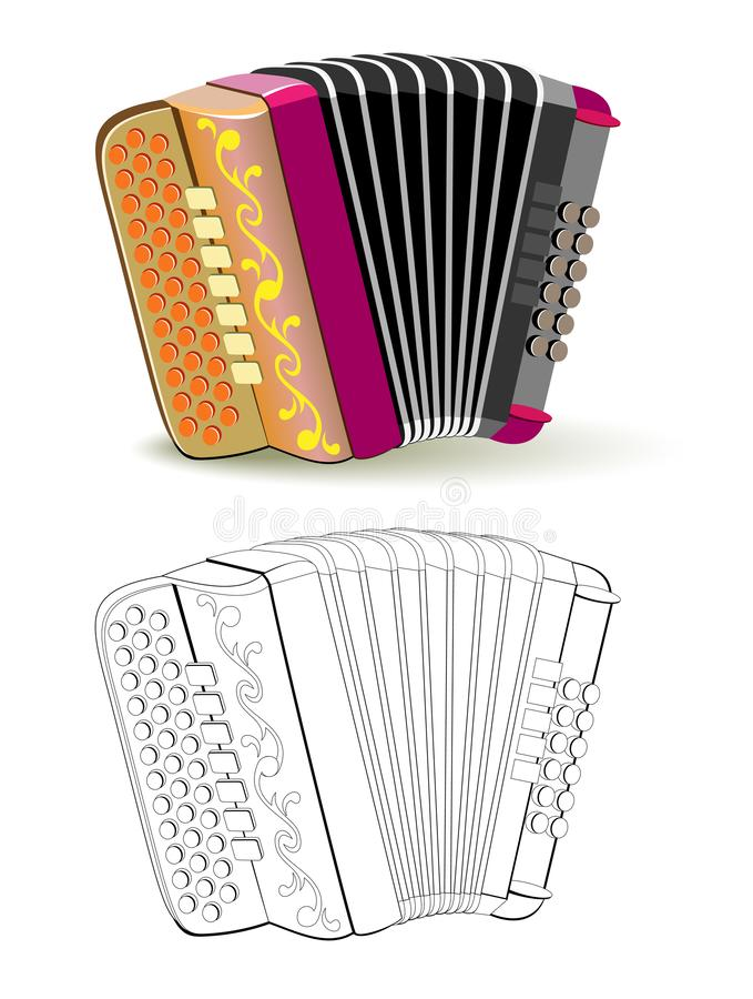 Colorful and black and white pattern for coloring. Fantasy illustration of musical instrument French button accordion. Worksheet for coloring book for children stock illustration