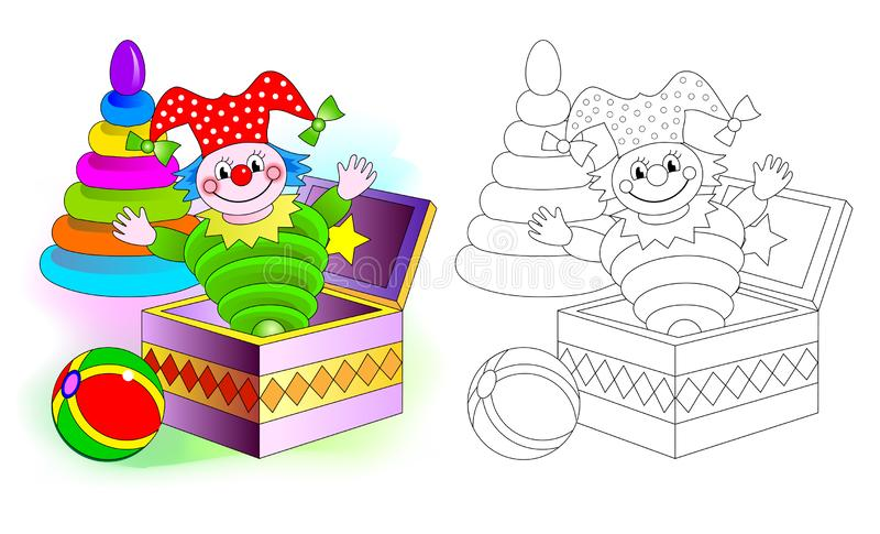 Colorful and black and white pattern for coloring. Set of cute baby toys with clown, ball and pyramid. royalty free illustration