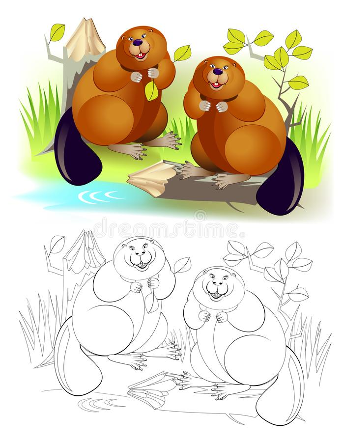 Fantasy illustration of couple cute of beavers gnawing tree trunk. Colorful and black and white page for coloring book for kids. vector illustration