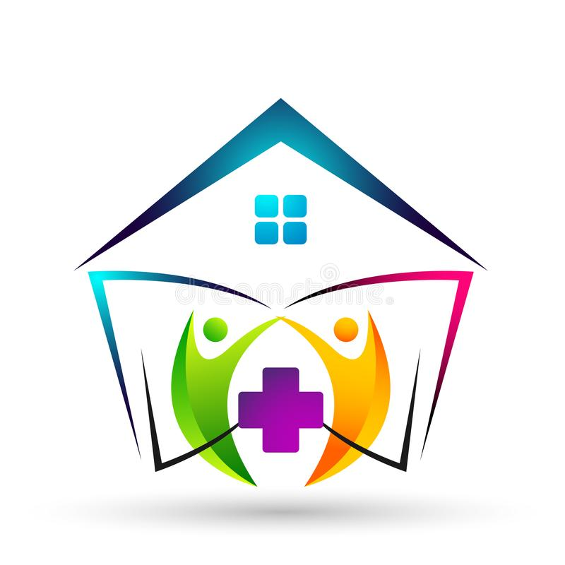 Medical health care clinic cross people home house healthy life care logo design icon on white background. Globe medical health care home house cross people vector illustration