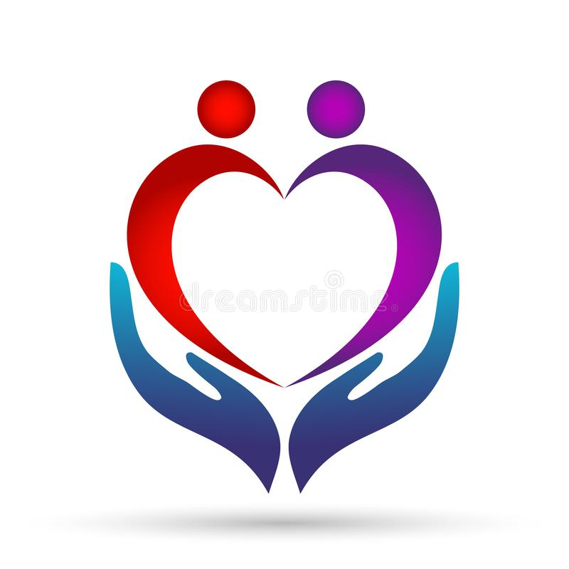 Medical health heart care clinic people healthy life care logo design icon on white background. Globe medical health heart love care  people healthy life care royalty free illustration