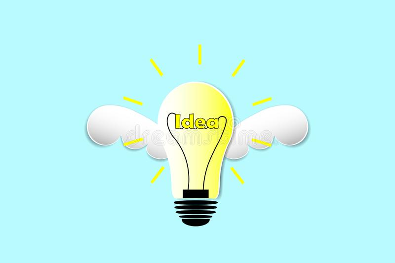 Lamp flying in freedom idea concept, idea fly. The lamp in idea, thinking and leader concept, the lamp in idea and leader royalty free illustration