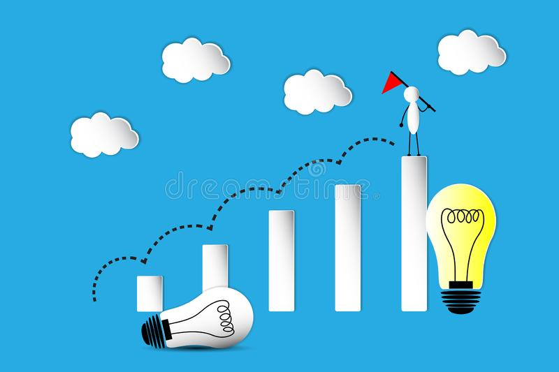 The Graph and leader concept, victory. The graph in idea, thinking and leader concept, the lamp in idea and leader vector illustration