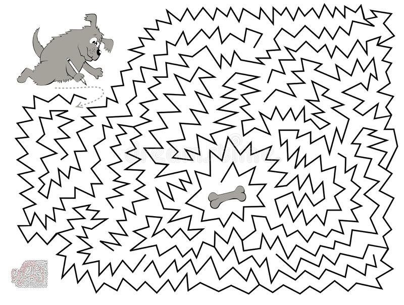 Logical puzzle game with labyrinth for children and adults. Help the dog find and draw the way till the bone. Printable worksheet for kids brainteaser book vector illustration