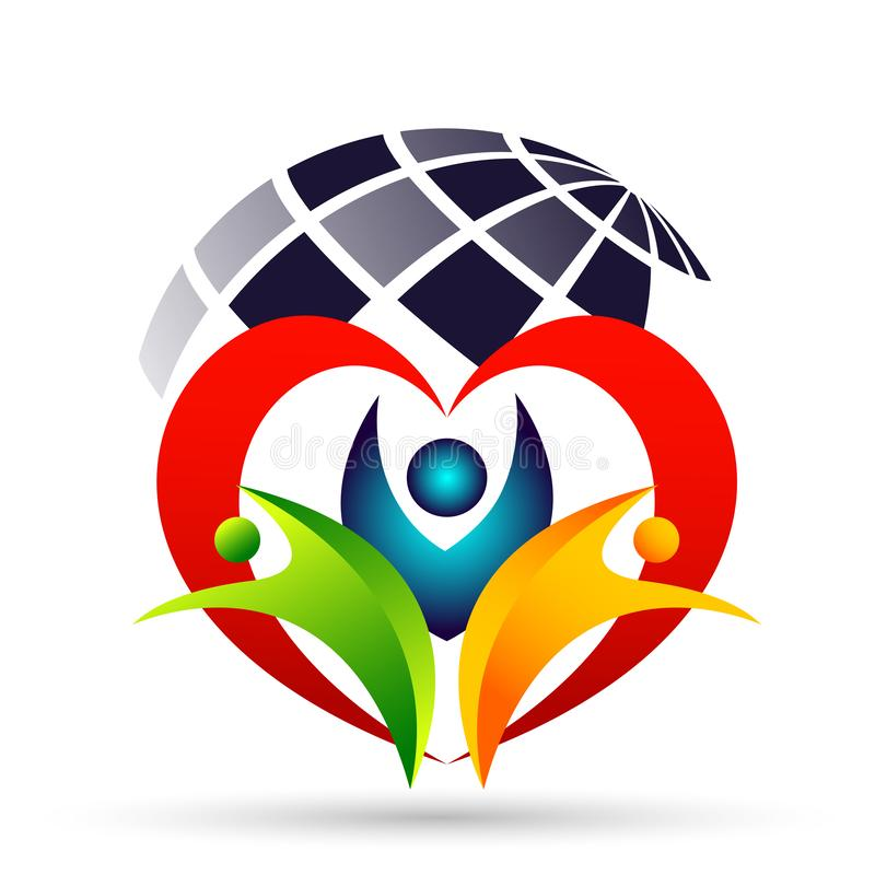 Family in happy union  logo, family, parent, kids,red heart shaped love, parenting, care, symbol icon design vector o icon logo. Globe world Family in happy royalty free illustration