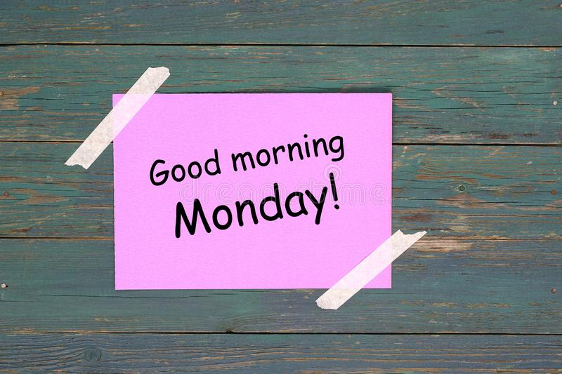 Good morning monday. On pink paper stock photography