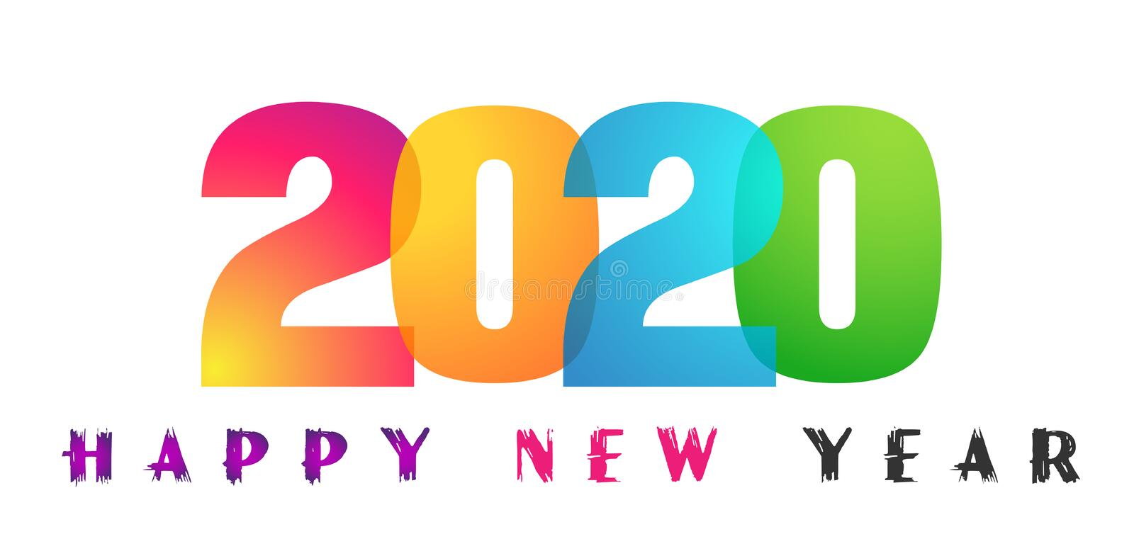 Happy New Year 2020 card and colorful greeting text design in colored on white background vector illustration