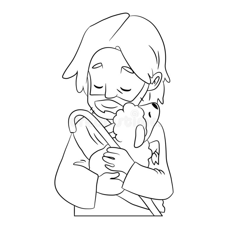 A lovely vector cartoon of Jesus holding a sheep to his chest with love. Coloring page. Black and white picture vector illustration