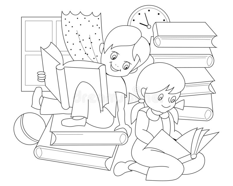 Black and white page for baby coloring book. Drawing of little boy and girl reading the books and fairy tales. vector illustration
