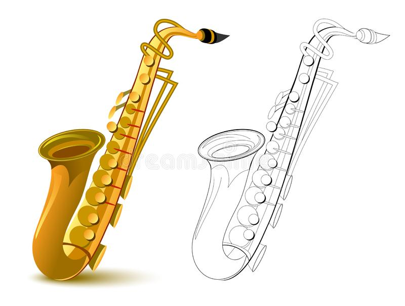 Colorful and black and white pattern for coloring. Fantasy illustration of metal wind musical instrument saxophone. stock illustration
