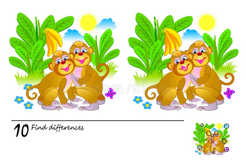 Logic puzzle game for children and adults. Need to find 10 differences. Printable page for kids brainteaser book. Illustration of cute monkeys in jungle royalty free illustration
