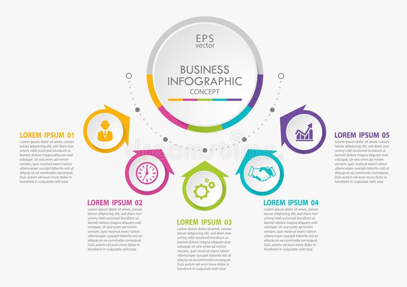 Presentation Business circle infographic template with 5 options. royalty free stock photography