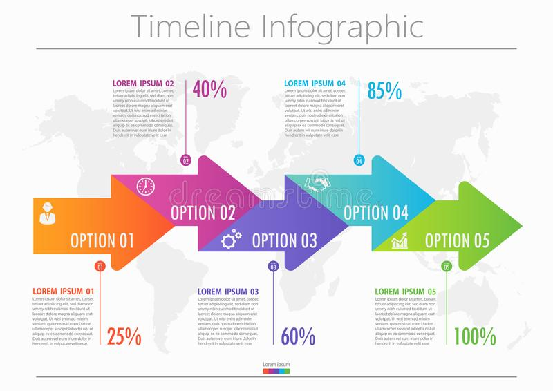 Business data visualization. timeline infographic icons designed for abstract background template with 5 options. stock images