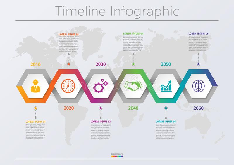 Business data visualization. timeline infographic icons designed for abstract background template with 6 options. stock image