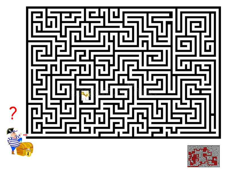Logical puzzle game with labyrinth for children and adults. Help pirate find way till the key to open the chest. Printable worksheet for kids brainteaser book stock illustration