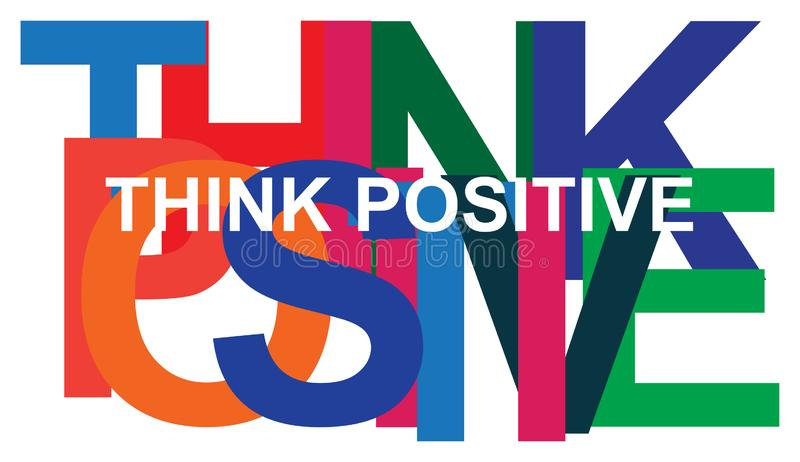 Colorful think positive on white vector illustration