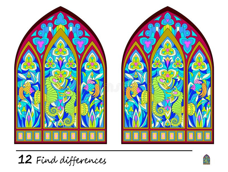 Find 12 differences. Logic puzzle game for children and adults. Print for kids brain teaser book. Illustration of medieval Gothic stained glass window vector illustration
