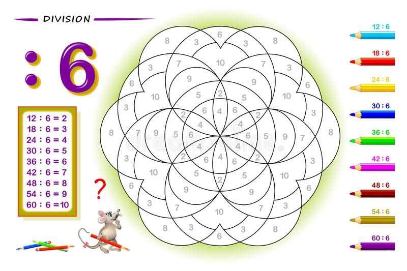 Division by number 8. Math exercises for kids. Paint the picture. Educational page for mathematics book. Printable worksheet for children textbook. Back to stock illustration