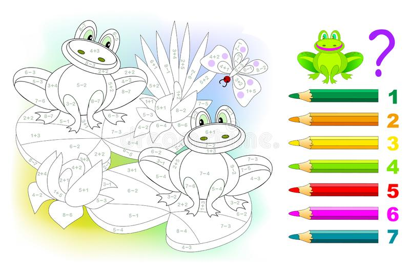 Math education for children. Coloring book. Mathematical exercises on addition and subtraction. Solve examples and paint frogs. Developing skills for counting royalty free illustration