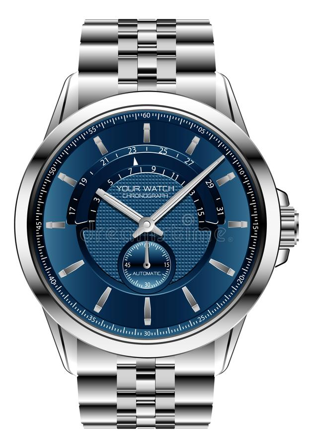 Realistic clock watch chronograph blue silver steel luxury for men on white background vector royalty free illustration