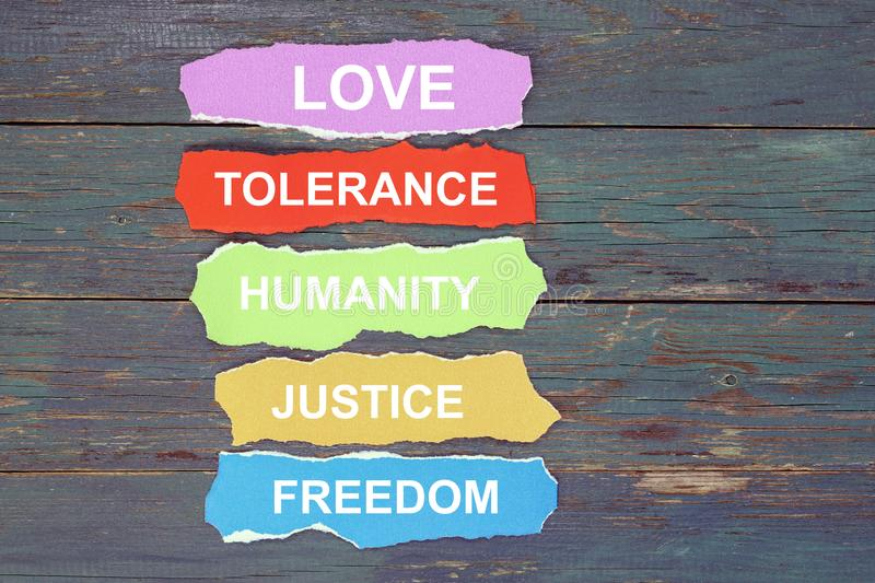 Love, tolerance, humanity, justice, freedom royalty free stock photos