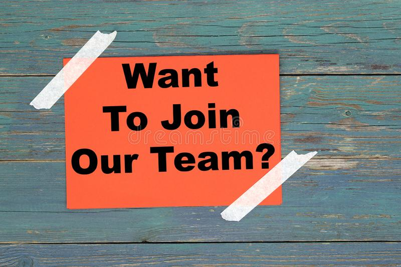 Want to join our team on white stock photo