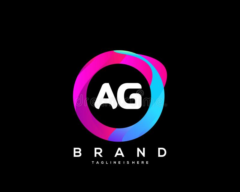 Initial letter AG logo with colorful circle background, letter combination logo design for creative industry, web, business and co royalty free illustration