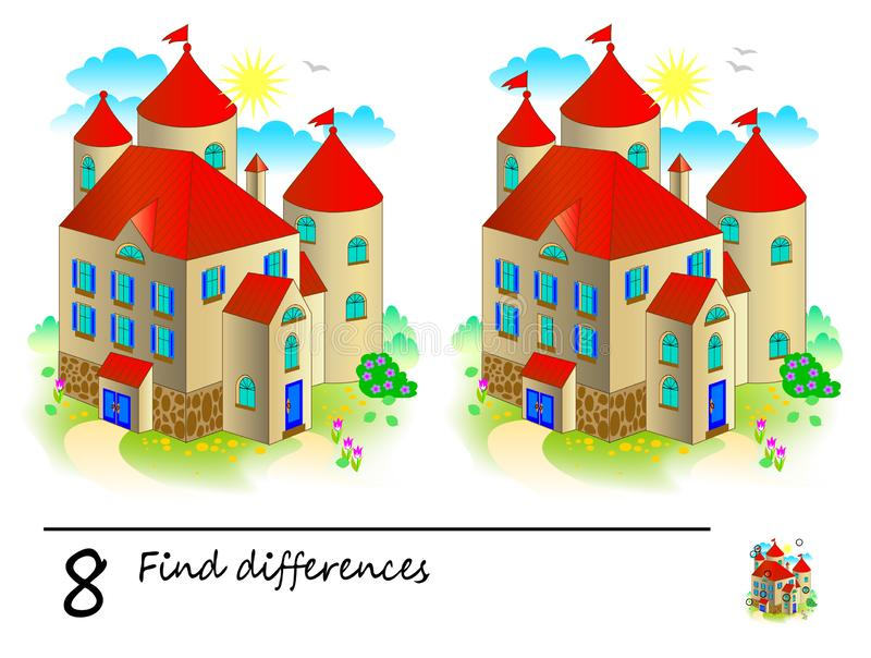 Find 8 differences. Logic puzzle game for children and adults. Printable page for kids brain teaser book. Illustration of medieval castle from fairy tale vector illustration
