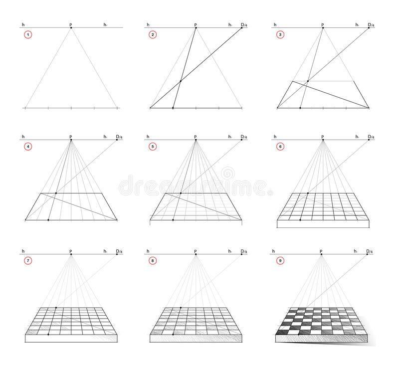 How to draw step by step chess board in perspective with vanishing point. Creation step-wise pencil drawing. vector illustration