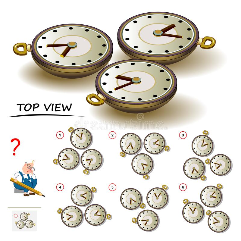 Logic puzzle game for children and adults. Need to find correct top view of watch. Printable page for brain teaser book. Developing spatial thinking skills. IQ vector illustration